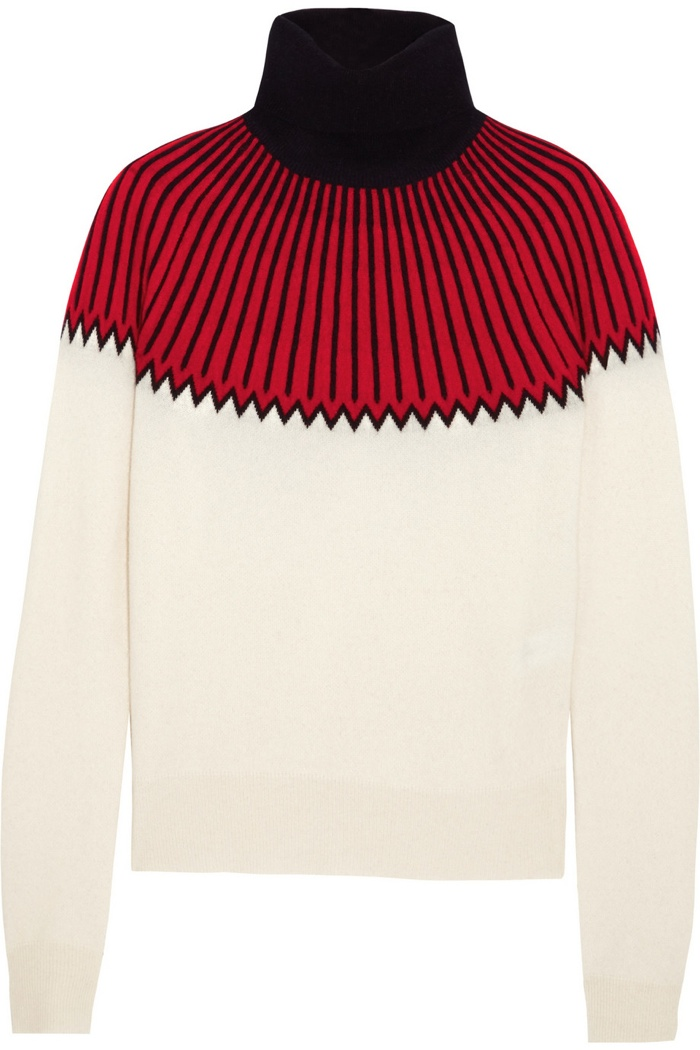 Chloe Intarsia Cashmere Turtleneck Wool Sweater