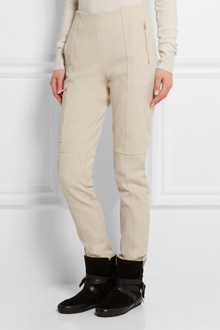 Chloe Stretch Wool Cotton Blend Twill Pants