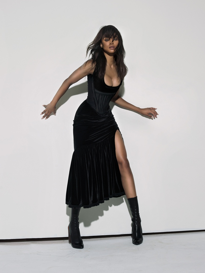 Ciara poses in Givenchy corset, skirt and boots