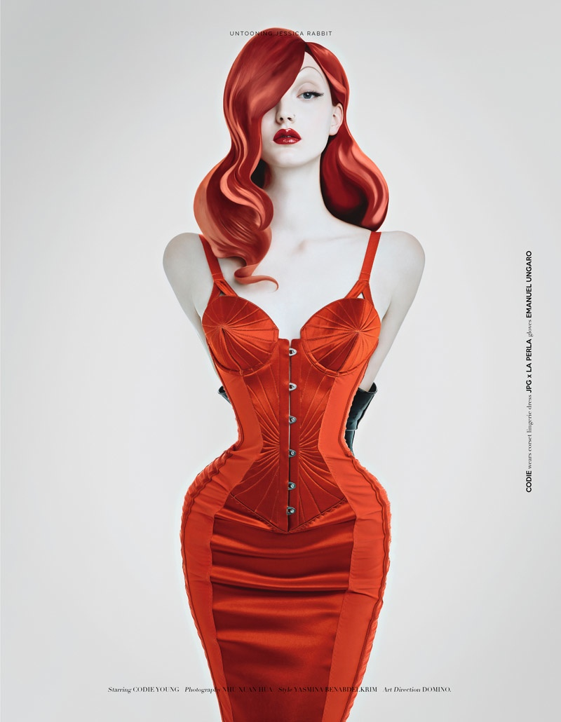 Codie Young Channels Jessica Rabbit for UmnO Magazine Editorial