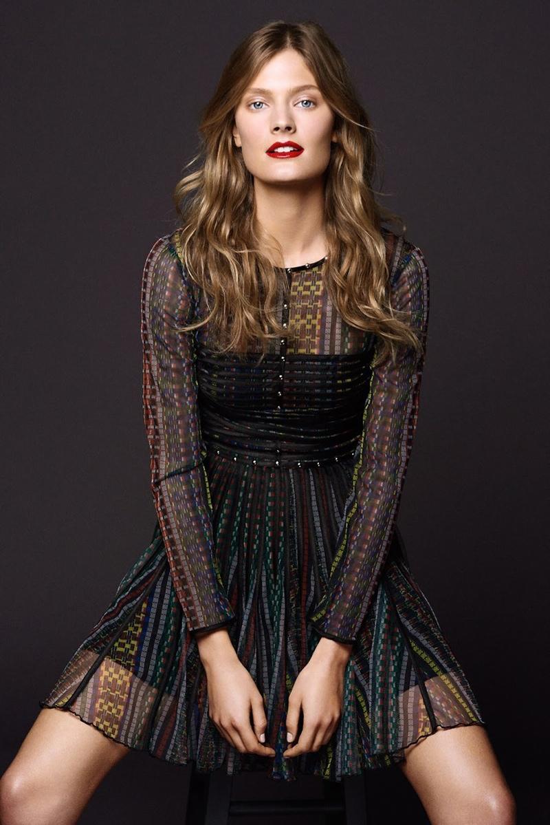 Constance models a Just Cavalli dress