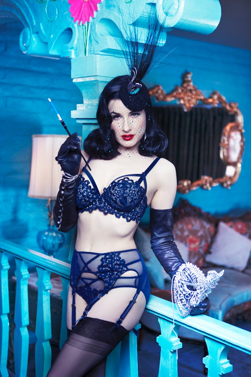 b409e224af4 Dita Von Teese Sizzles in Lingerie Shoot
