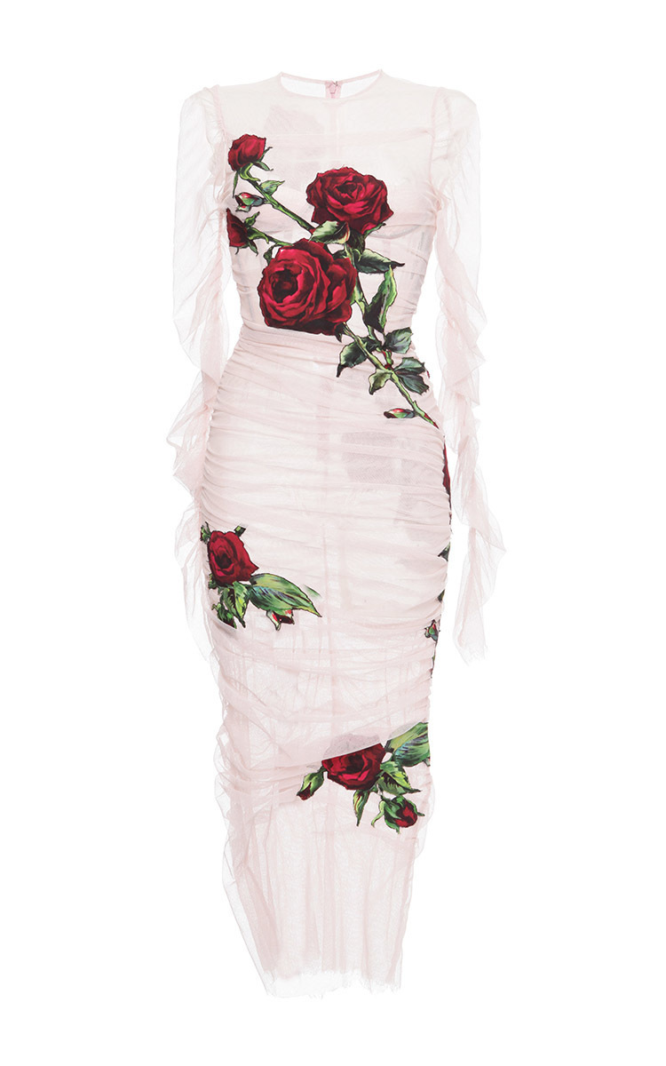 GET THE LOOK: Dolce & Gabbana Ruched Tulle Rose Appliqué Dress available at Moda Operandi