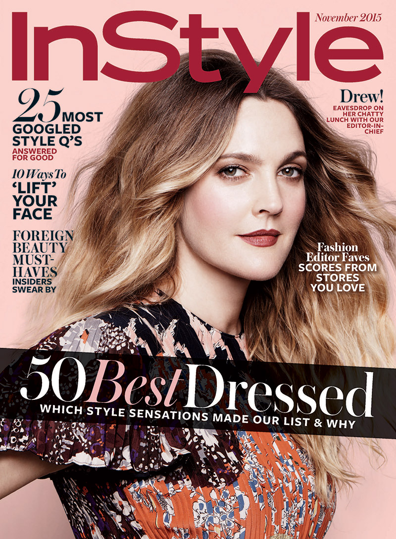 Actress Drew Barrymore lands the November 2015 cover of InStyle Magazine, looking gorgeous in a Valentino dress. Jan Welters photographed the star with styling by Melissa Rubini. The November issue of InStyle hits newsstands on October 16.