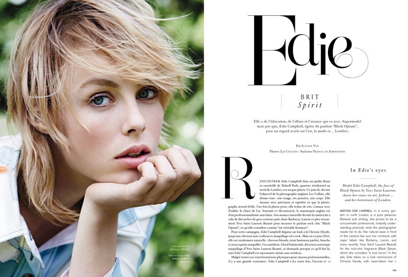 Edie Campbell stars in Air France Madame's October issue