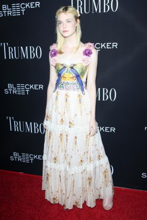 Elle Fanning Embraces Florals in Gucci at the 'TRUMBO' LA Premiere