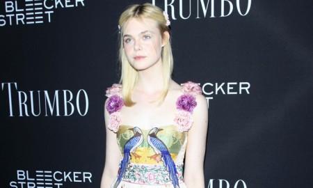 Elle Fanning wears Gucci dress at 'TRUMBO' Los Angeles premiere. Photo: Shutterstock.com / Helga Esteb