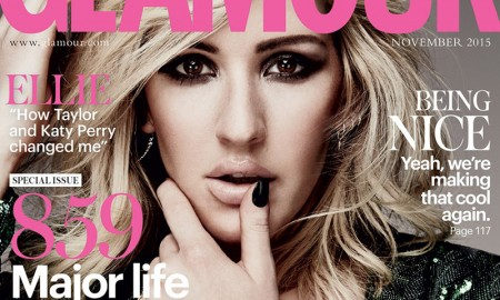 Singer Ellie Goulding flaunts her cleavage on the November 2015 cover of Glamour UK while wearing a green sequin-embellished dress and sexy pout.