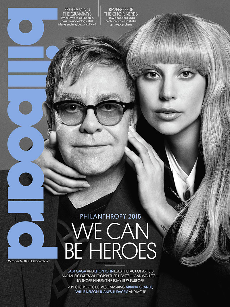 Elton John and Lady Gaga cover the October 14, 2015, cover from Billboard Magazine. The pair pose for Paola Kudacki in the black and white image.