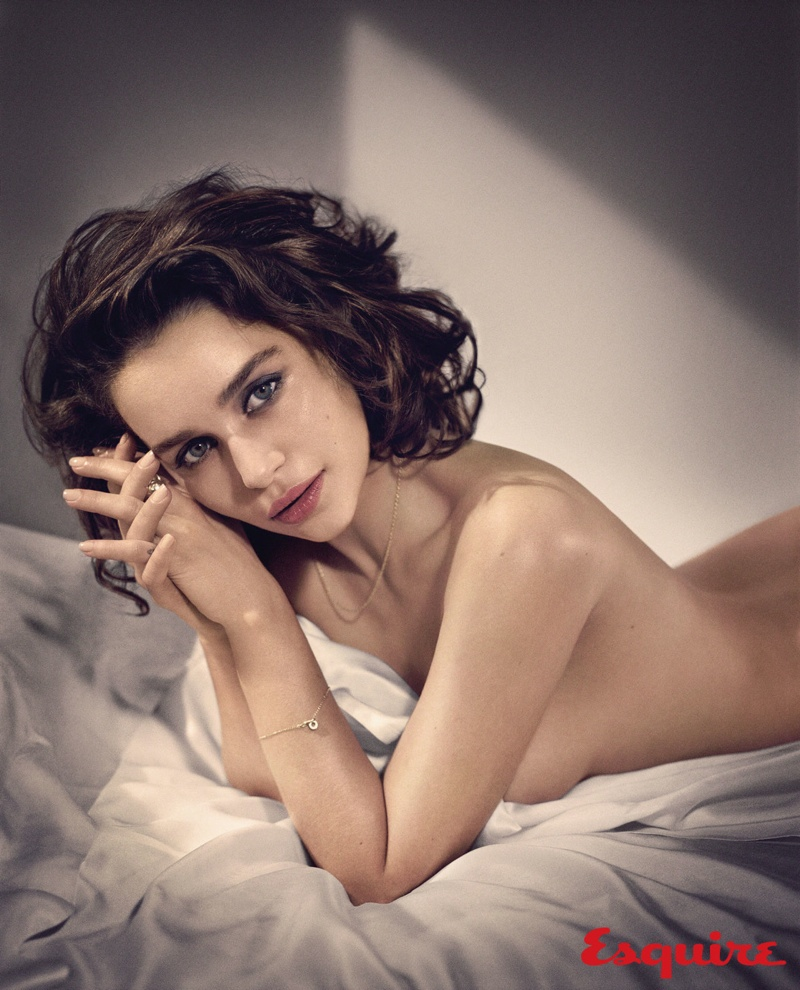 Emilia poses naked in bed for the photo shoot