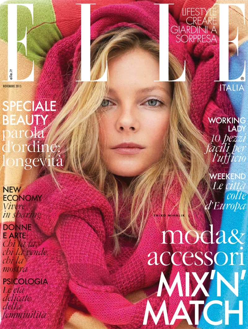 Eniko Mihalik on ELLE Italia November 2015 cover