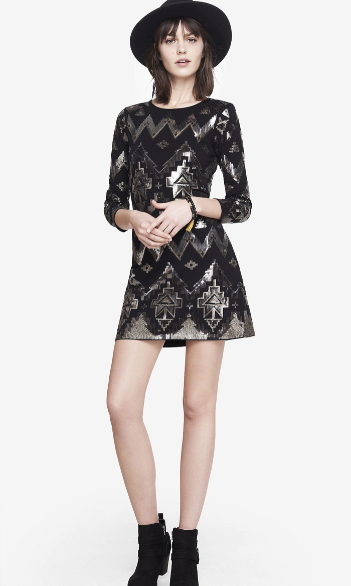 Express Black Aztec Sequin Embellished Dress