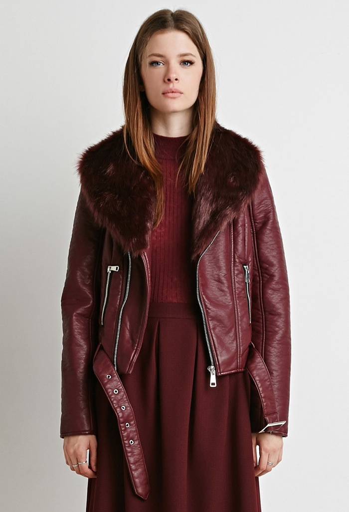 Forever 21 Faux Fur Leather Jacket