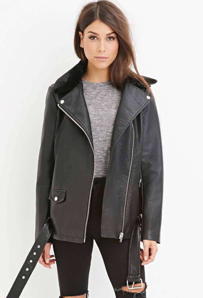 Forever 21 Moto Jacket with Faux Fur Collar