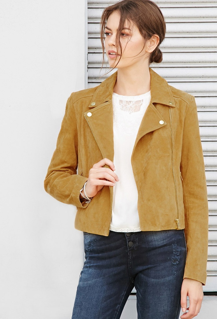 Forever 21 Cropped Genuine Suede Moto Jacket