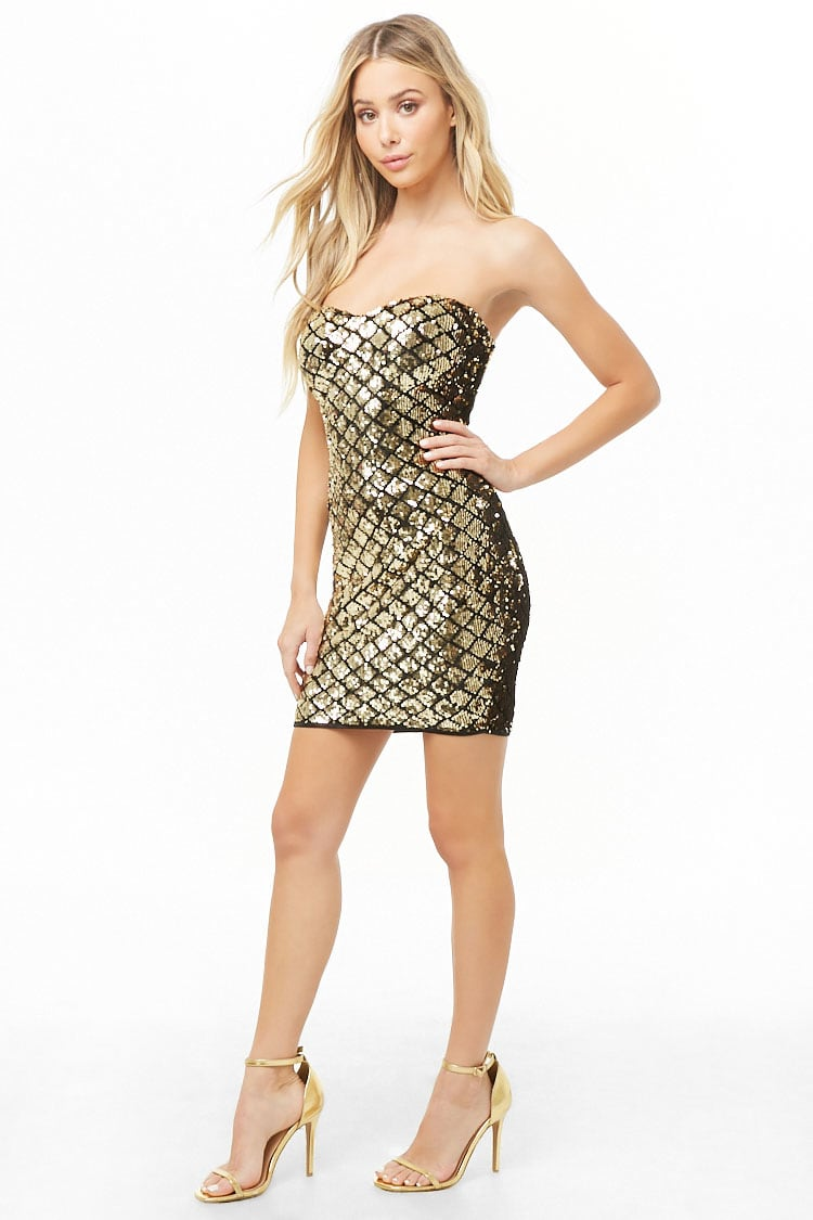 Forever 21 Geo Sequin Tube Dress in Gold $35