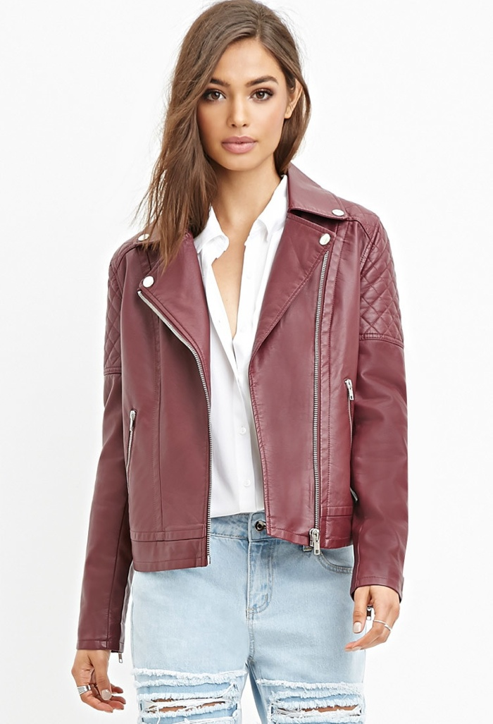 Forever 21 Quilted Faux Leather Moto Jacket