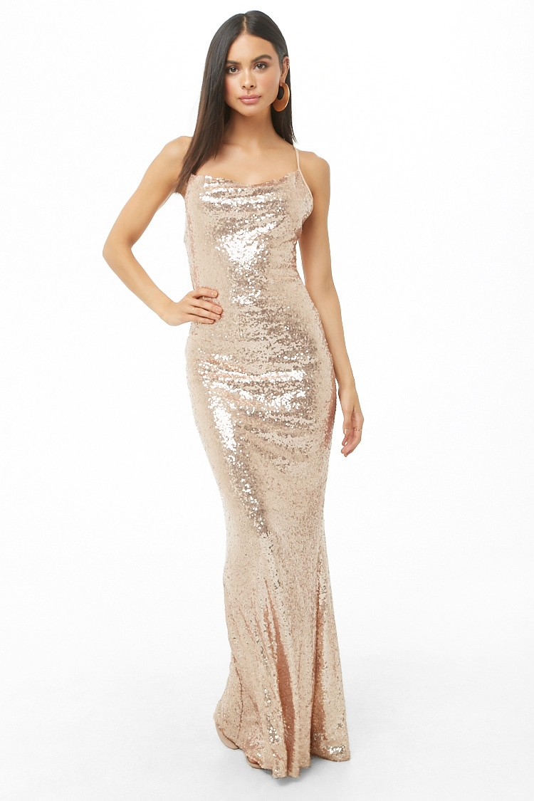 Forever 21 Sequin Cowl Neck Maxi Dress $38