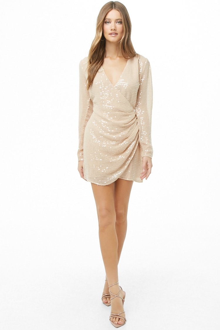 Forever 21 Sequin Gauze Woven Surplice Dress in Blush $44.90