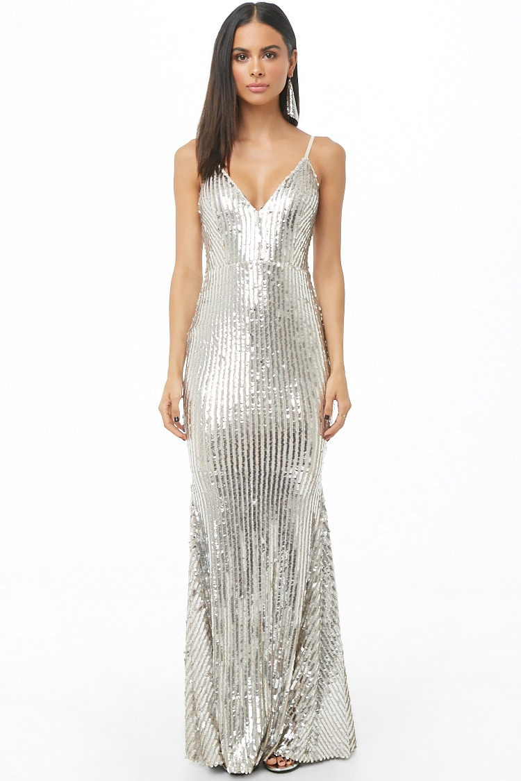 Forever 21 Sequin Homecoming Gown in Silver $68