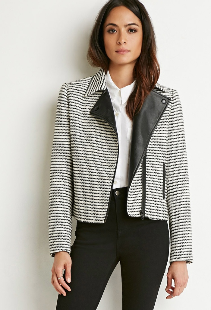 Forever 21 Striped Tweed Moto Jacket