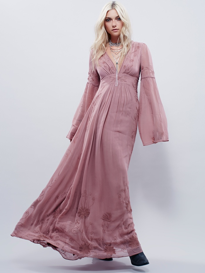 Free People Bell Sleeve Maxi Dress
