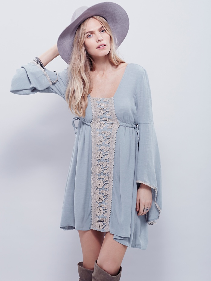 Free People Blue Bell Sleeve Mini Dress