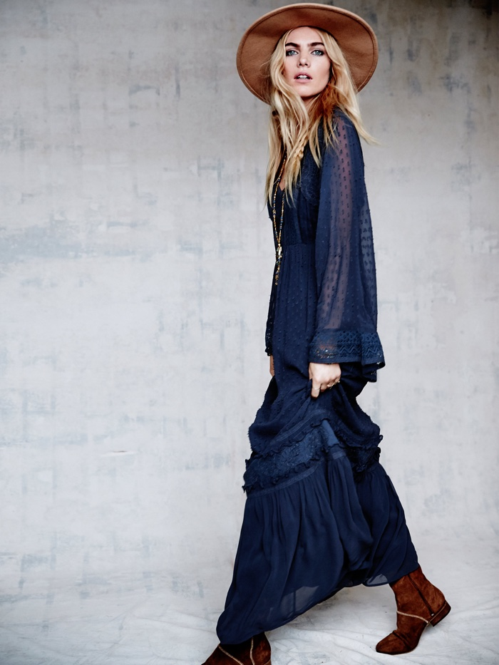 Free People Chiffon Maxi Bell Sleeve Dress in Blue