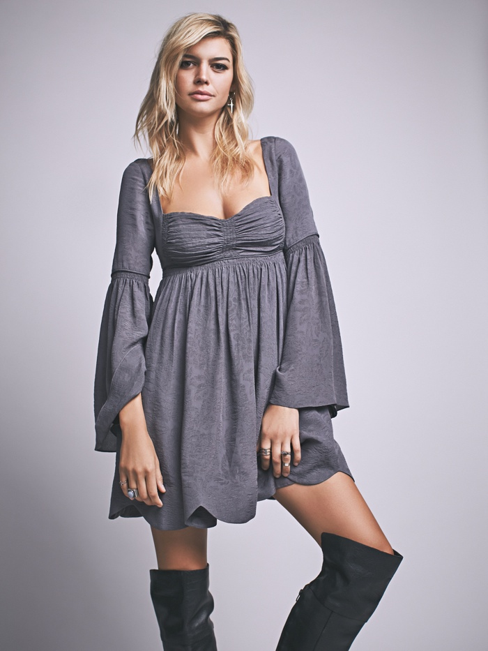 Free People Duchess Babydoll Dress with Long Sleeves
