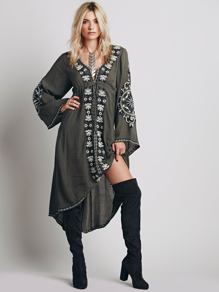 Free People Bell Sleeve Dress in Green