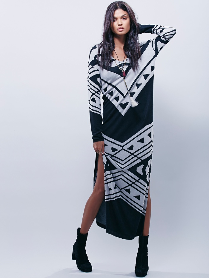 Free People Blanket Maxi Dress with Long Sleeves