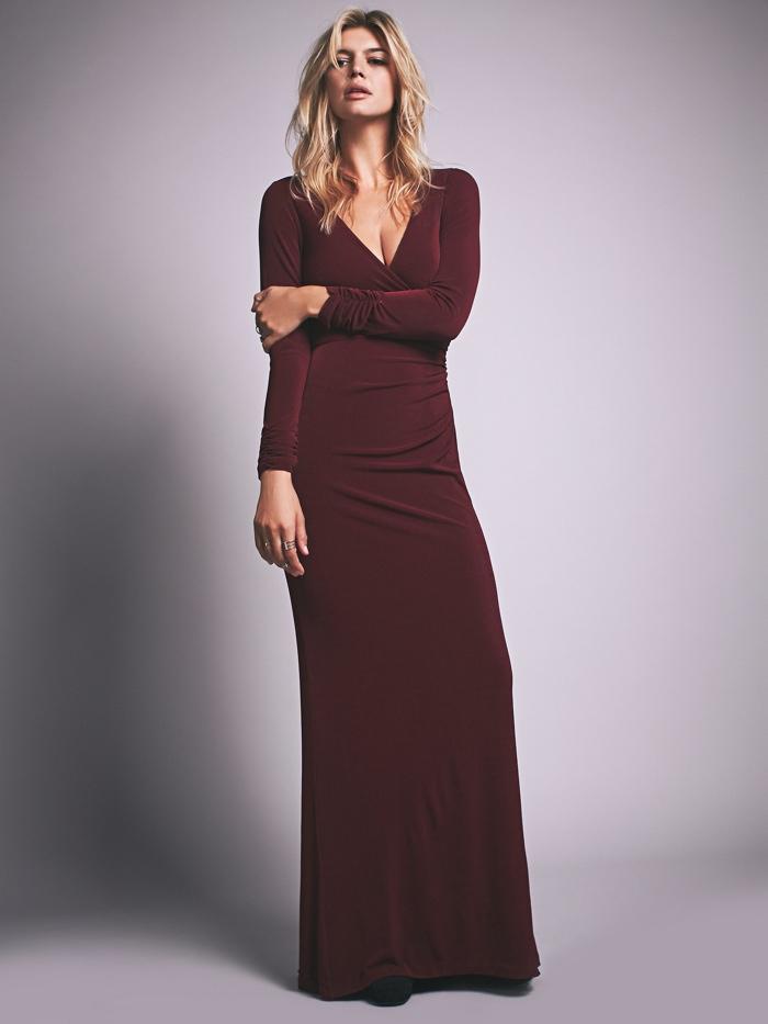 Free People Long Sleeve Maxi Dress in Burgundy