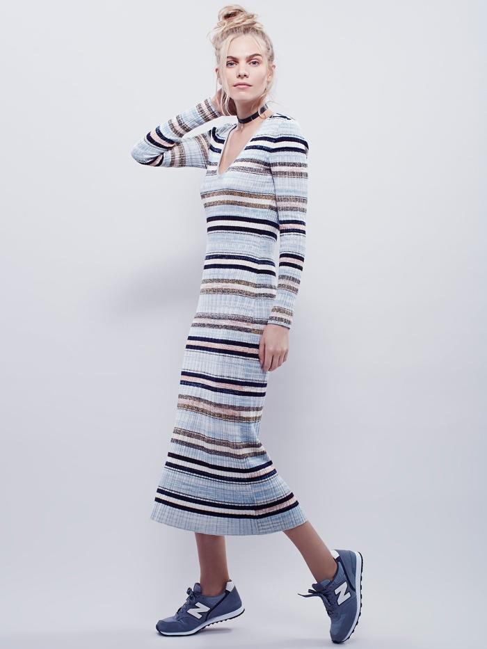 Free People Striped Long Sleeve Maxi Dress