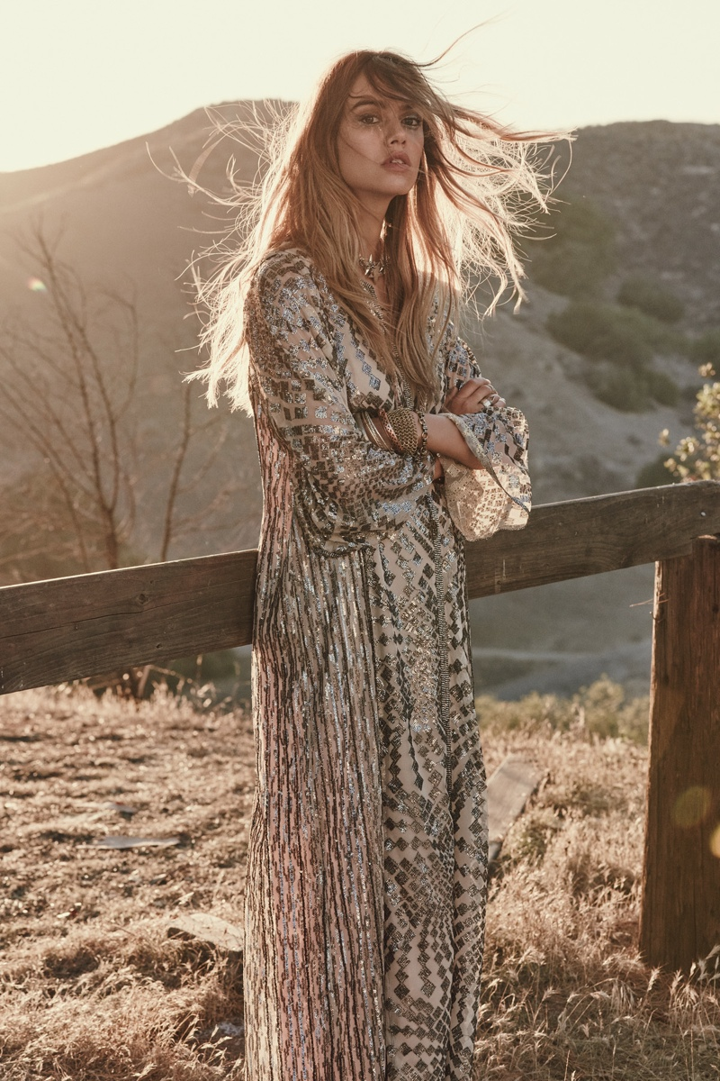 Free People Silver Maxi Dress