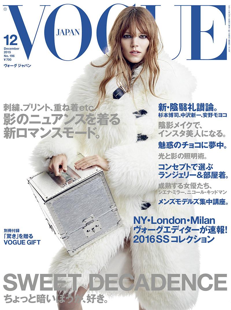 Freja Beha Erichsen Wears Winter White on Vogue Japan's December Cover