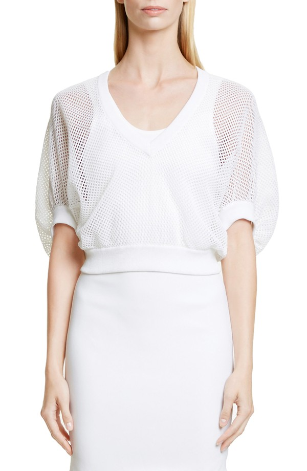 Givenchy Victorian Sleeve Knit Mesh Top