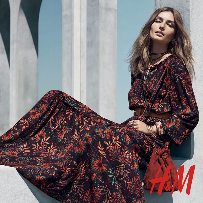andreea diaconu rocks the boho trend for h m fashion gone rogue. Black Bedroom Furniture Sets. Home Design Ideas