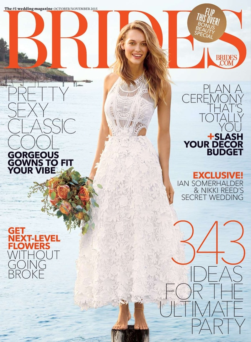 Hannah Ferguson Wows In White Dresses - Brides Magazine October-November 2015