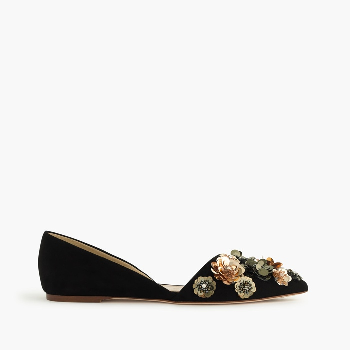 J. Crew Collection Sloan Flower Sequin d'Orsay Flats