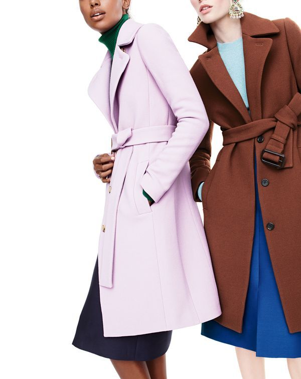 J. Crew Double Cloth Belted Trench Coat