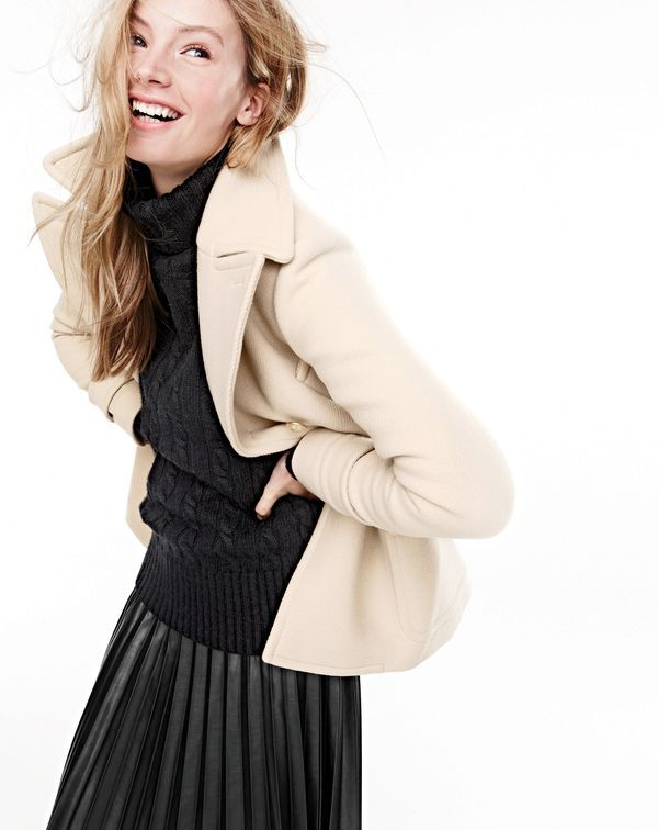 J. Crew Stadium Cloth Majesty Peacoat