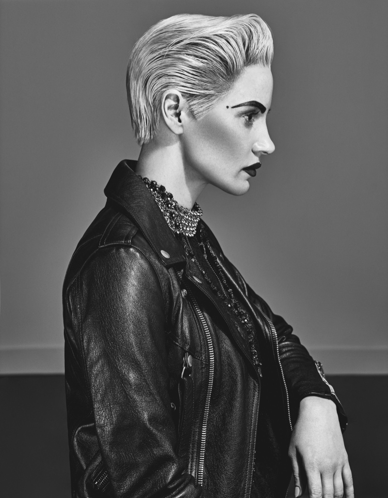 Jessica Chastain wears a short blonde hairstyle for W