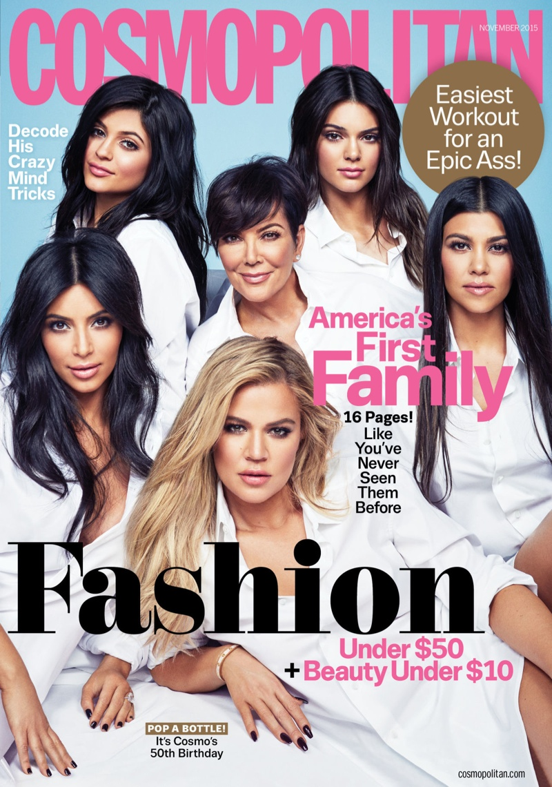 The Kardashian and Jenner family cover the November 2015, 50th anniversary issue of Cosmopolitan Magazine. For the first time in four years, the six including Kylie Jenner, Kendall Jenner, Kris Jenner, Kim Kardashian, Khloe Kardashian and Kourtney Kardashian pose all together.