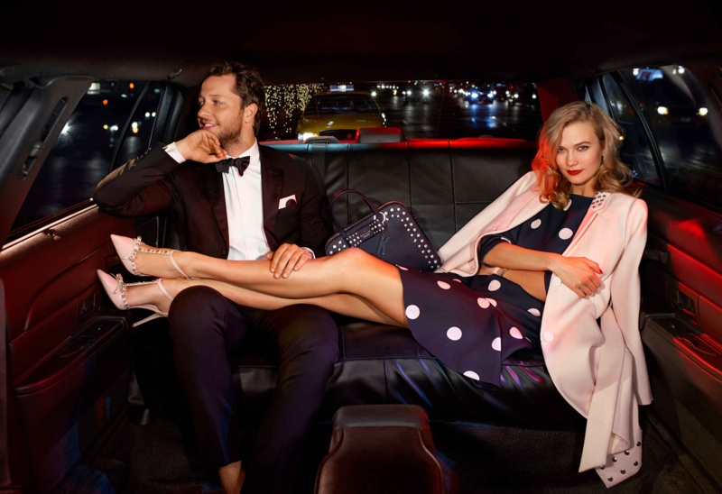 Karlie Kloss and Derek Blasberg star in Kate Spade's holiday 2015 campaign