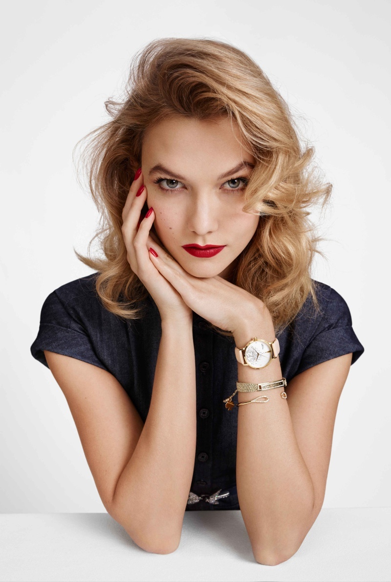 Karlie shows off a Kate Spade watch in the brand's holiday 2015 campaign