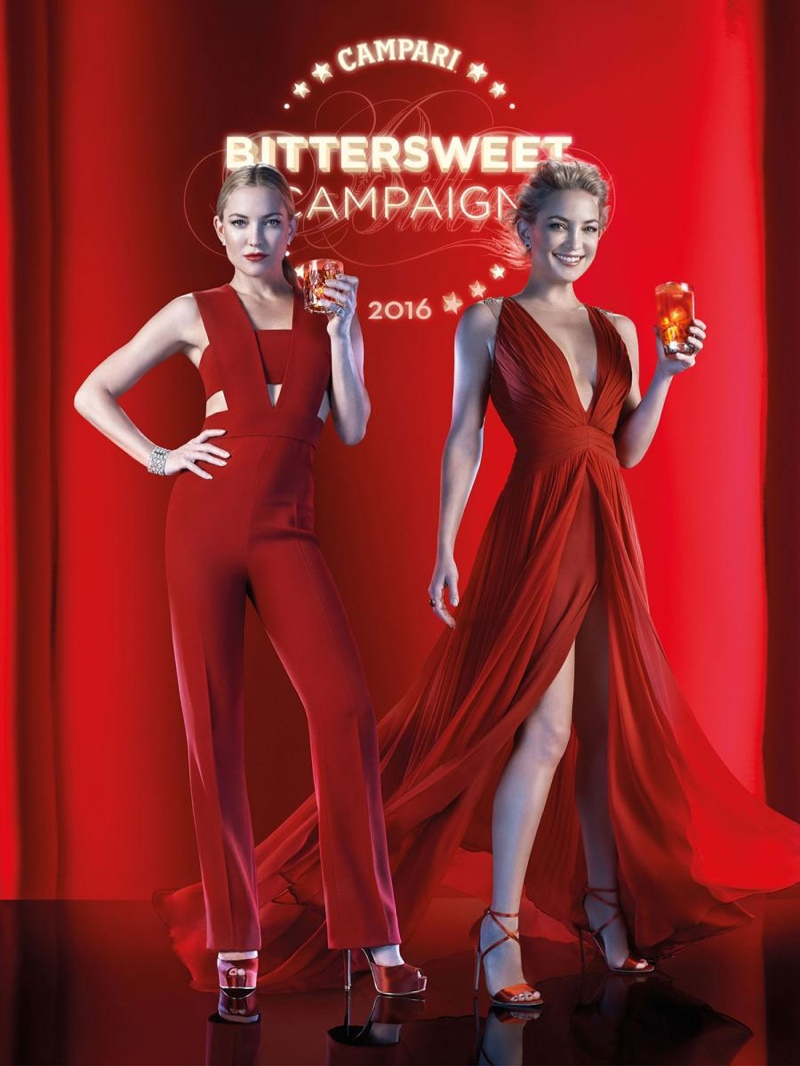 Actress Kate Hudson was announced as the face of Campari's 'The BitterSweet Campaign' for its 2016 calendar. The Italian alcohol brand presented a behind the scenes look at the upcoming calendar and Kate looks red hot!