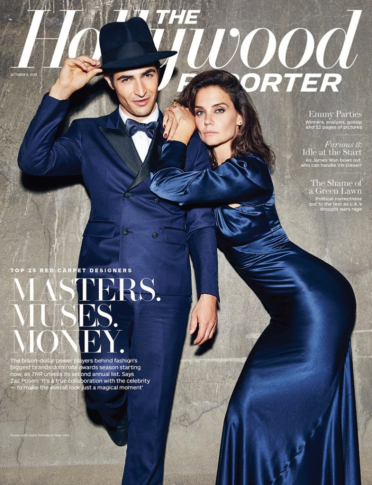 The October 9, 2015, cover story from The Hollywood Reporter celebrates the top red carpet designers with Zac Posen and actress Katie Holmes. The pair were photographed by Miller Mobley in New York.