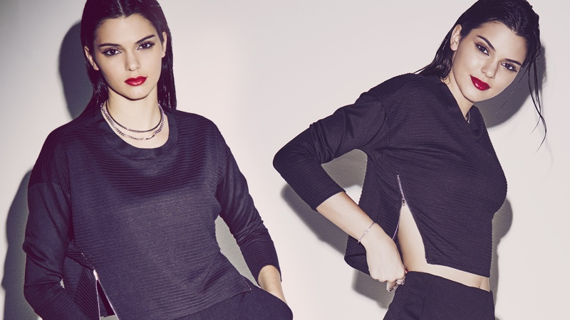 Kendall sports a cropped sweater from the brand
