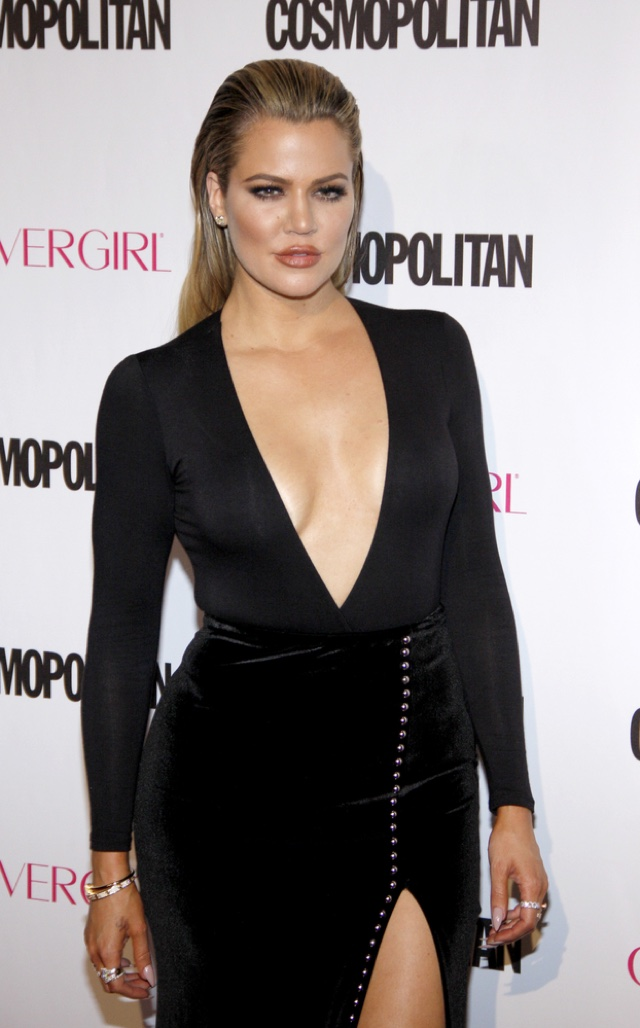 Khloe Kardashian with long blonde hair at Cosmopolitan event. Photo: Tinseltown / Shutterstock.com