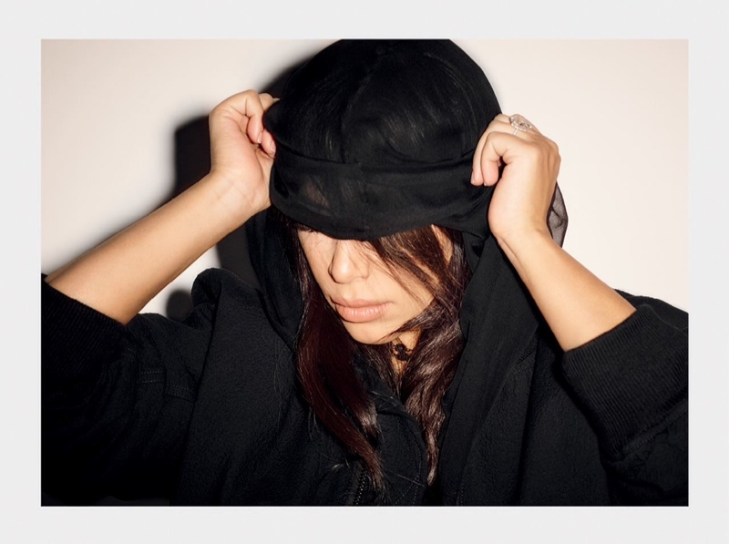 Kim shows off a hooded look in this picture